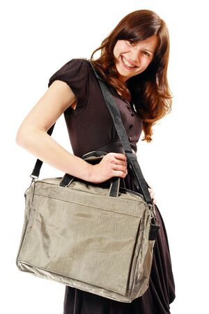 Student girl with modern bag. Isolated on white. photo