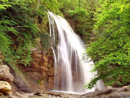 Shady forest waterfall Dzhur-Dzhur, the biggest waterfall in Crimea (Tavria), Ukraine. Stock Photo - 3168538