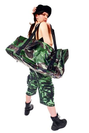 Thief girl in camouflage pants with a big bag full of . Isolated on white. photo