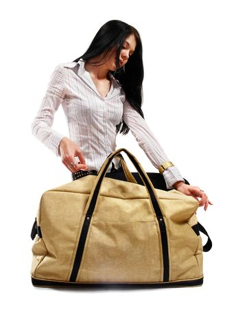 Urban girl with modern bag. Isolated on white. photo
