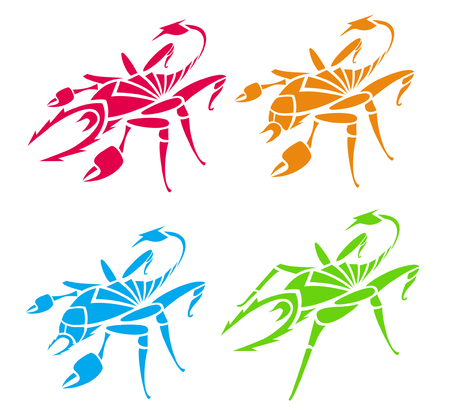 Scorpions and spiders (). Vector illustration. Vector