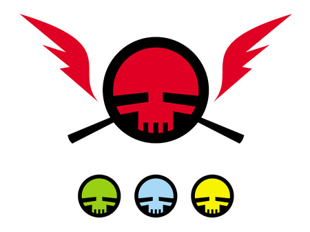 buccaneer: Skull in the circle framed with the wings. Modern pirates flag. Vector illustration.
