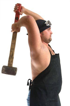 Portrait of blacksmith with hammer. Isolated on white background. Stock Photo - 3564366
