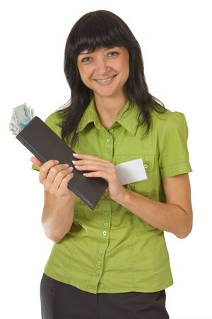 Portrait of smiling girl with the folder and money. Isolated on white. Stock Photo - 3646755