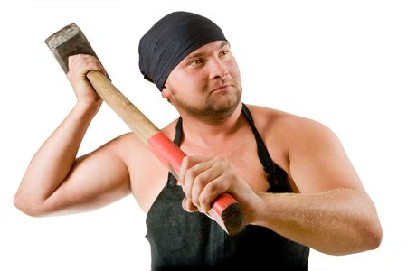 Portrait of blacksmith with hammer. Isolated on white background. Stock Photo - 3664242