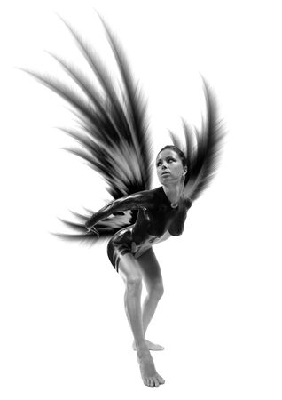 sexy naked woman: Dark Angel with majestic black wings. Isolated on white                                Stock Photo