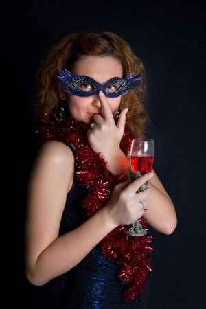 Pretty modest girl is holding the wineglass Stock Photo - 3913650