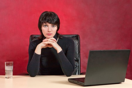 Portrait of busineswoman dressed in black. Crisis theme. Stock Photo - 4175498