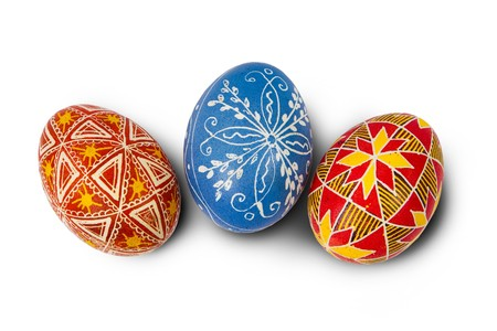 Hand-drawn Easter eggs. Isolated on white photo
