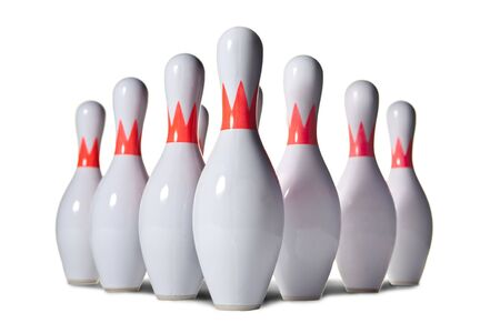 red pin: Ten bowling pins. Isolated on white.