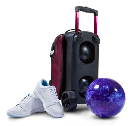 Bowling accessories - professional shoes, ball and cart. Archivio Fotografico