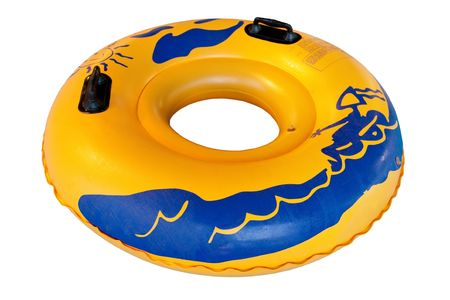 float: Waterpark rubber ring (waterpark equipment). Isolated on white.