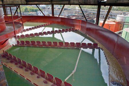 precipitation: Treatment plant. Precipitation tank on the foreground. Stock Photo