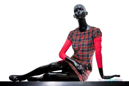 layman: Urban mannequin woman dressed in checkered dress. Isolated on white. Stock Photo