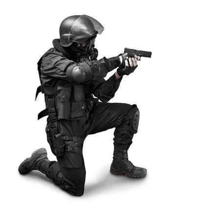 police force: Armed man in protactive cask with a pistol. Isolated on white. Stock Photo