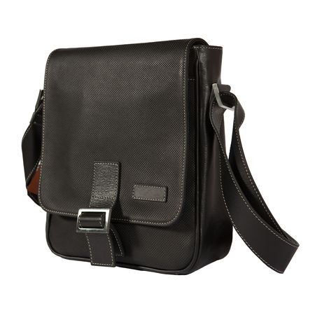 Black exclusive male bag made from stamped leather. Isolated on white.