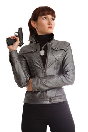 Security girl in leather jacket with the Makarov gun. Isolated on white. photo