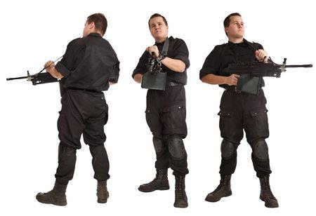 Machine-gunner in NATO uniform with the machine gun. Isolated on white. Stock Photo - 5924973