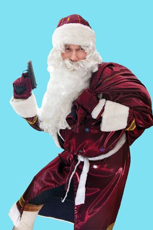 sac: Santa with the gun and sac isolated on blue.