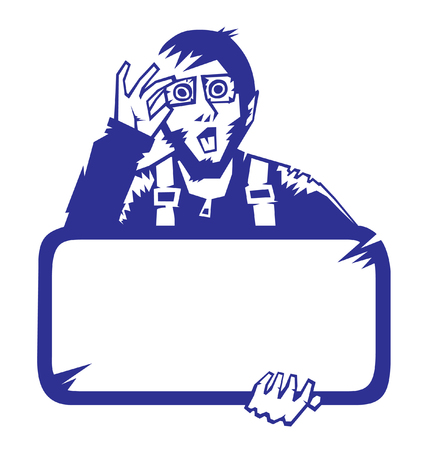 Surprised man with the blank board in hands. Vector illustration. Stock Vector - 6355265