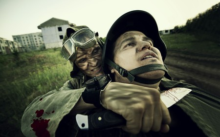 Terrorist is catching a soldier as a hostage. Cross processing styled. Stock Photo - 7353745