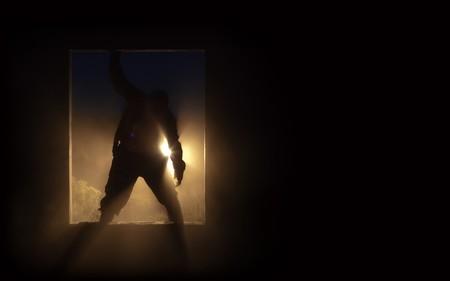 doorways: The silhouette of the fat spooky zombie in the doorway.