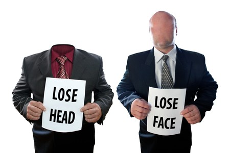 faceless: Two businessmen - faceless and headless. Isolated on white background. Stock Photo