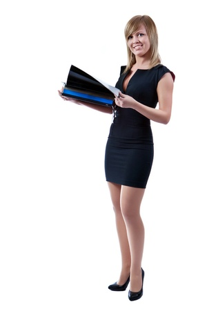 Portrait of a smiling blonde businesswoman with folders in hands. Isolated on white background.