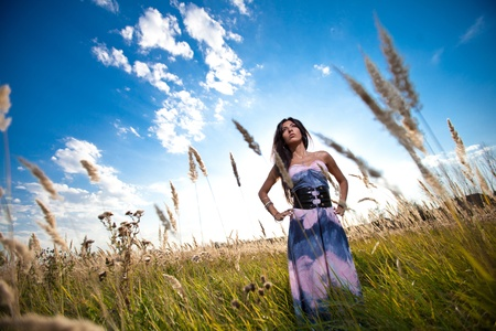 Attractive yong woman on the rural summer background. Stock Photo - 10453182