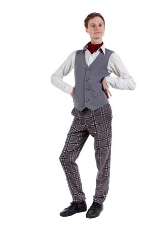 Funny student in checkered pants, shirt and vest. Isolated on white Stock Photo - 13145823