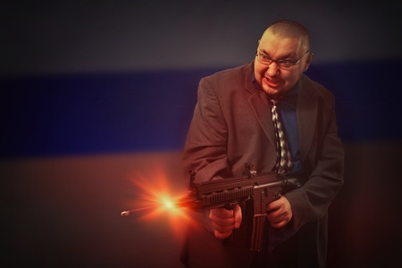 Shooting bald gangster on the Russian flag background. photo