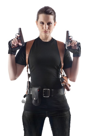 one armed: Officer woman with two guns  Isolated on white