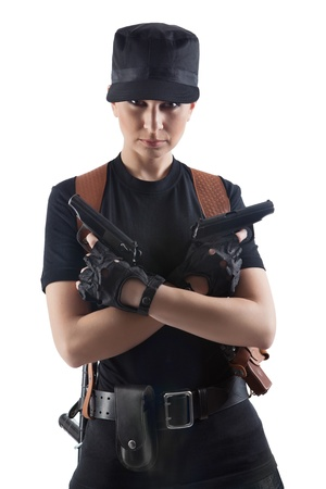 Officer woman with two guns  Isolated on white  photo