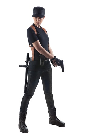 Officer woman with gun  Isolated on white