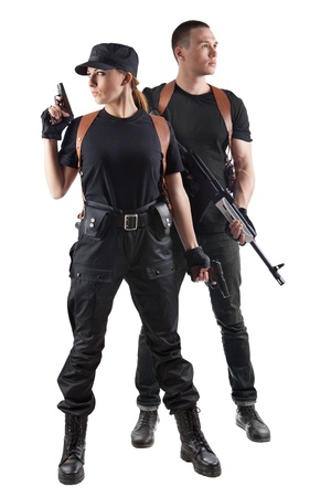 female police: Police officers with guns  Isolated on white  Stock Photo