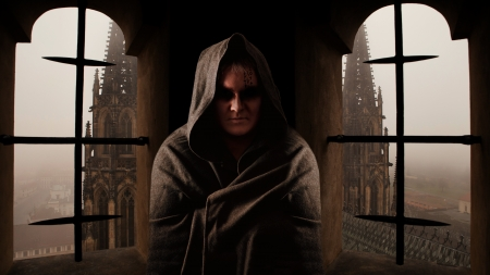 Mystery monk with the runes on the face  Sanctus Vitus church on the background  photo