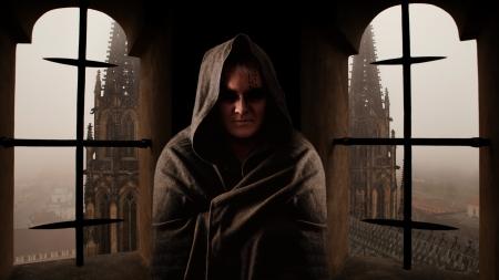 Mystery monnik met de runen op het gezicht Sanctus Vitus kerk op de achtergrond