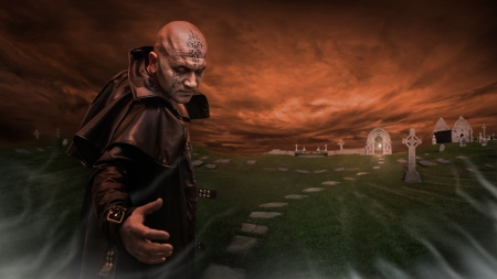 Black Magician in the leather raincoat is inviting you to a graveyard  Focus point on the Magician  photo