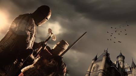 espadas medievales: Batalla de caballeros Castillo Medieval en el fondo Foto de archivo