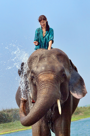 Beautiful girl is having a shower with the elephant. photo