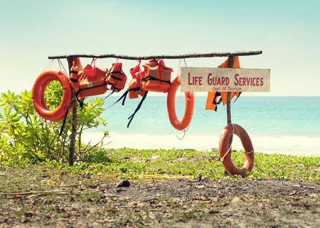 life guard: Life guard post on the sea background.