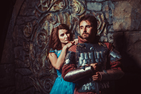 female beauty: Medieval knight with his beloved lady