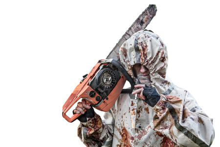 maniac: Smoking maniac with the chainsaw dressed in a dirty bloody raincoat. Isolated on white background. Stock Photo
