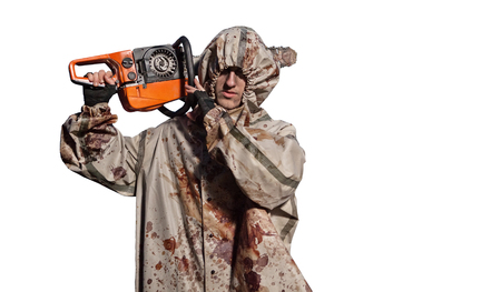 maniac: Maniac with the chainsaw dressed in a dirty bloody raincoat. Isolated on white background.
