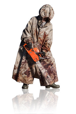 Maniac with the chainsaw dressed in a dirty bloody raincoat. Isolated on white background.