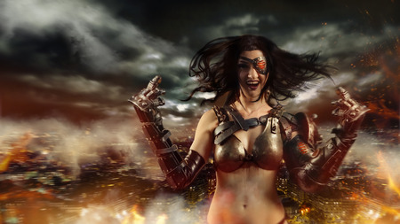 valkyrie: Sexy woman with metal arms is showing fuck to the camera. Burning city on the background. Stock Photo