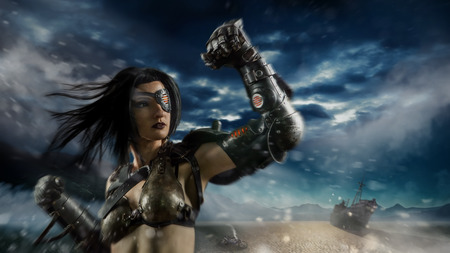 valkyrie: Sexy biker woman with the metal arm on the apocalypse desert storm background.
