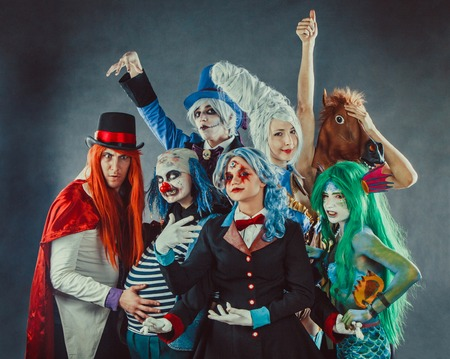 The troupe of mad circus actors. Banco de Imagens