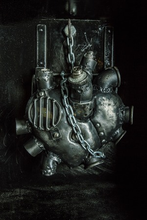 Heart of steel made in steam punk style. Stock Photo