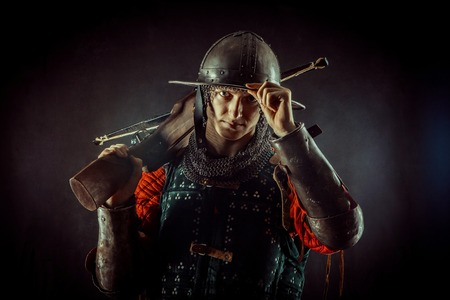 Young crossbowman with bow in medieval costume Stock Photo